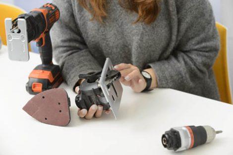 付属のヘッドは4種類。丸ノコが付属しないモデルもあるが、丸ノコ付きのモデルがオススメだとのこと。安全に使うための配慮がされている。