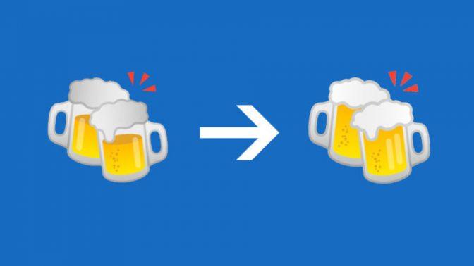 Googleのビールとハンバーガーの絵文字、非現実から現実的なものに修正
