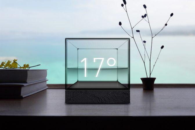 インテリアにもおススメな、水の動きで天気がわかる「Weather Cube」