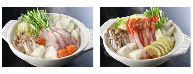 左:1月 鰤しゃぶ鍋 / 右:2月 蟹すき鍋