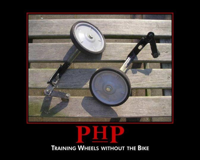 「PHPを学ぶことは、自転車に乗る練習を本体なしで行うようなこと」。プログラマーの心情を表した画像がネットで広まった。 Reddit