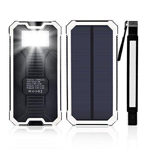 15000mAh大容量太陽光発電モバイルバッテリー6つのLEDライト付き