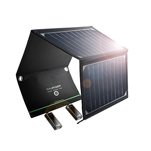 RAVPower 超軽量ソーラーチャージャー 改良版 16W 2ポート 折りたたみ式