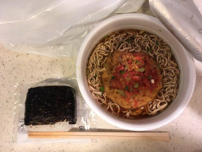 (1) カップ麺+おにぎり【ダブル糖質】