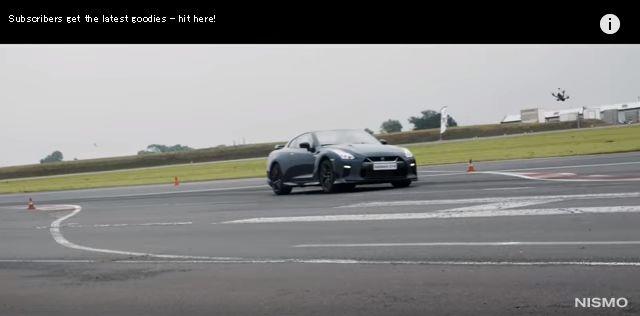 GT-Rのドローン、GT-Rと対決