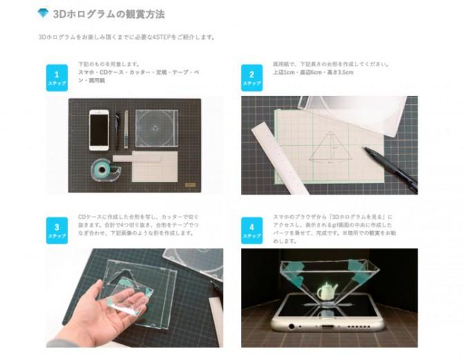 3Dホログラムの鑑賞方法