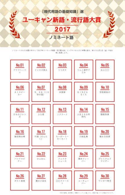 """""""インスタ映え""""など!「新語・流行語大賞 」ノミネート30語発表"""